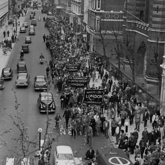 Aldermaston to London CND march in London streets, seen from above, circa 1960