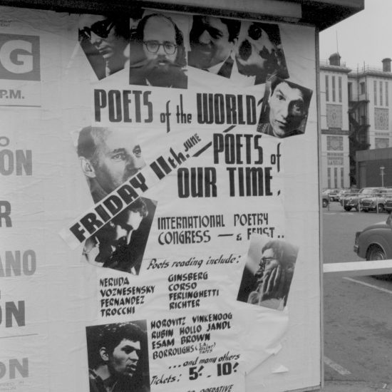 A poster outside the Royal Albert Hall, London, advertising the following days' International Poetry Congress on June 11 1965, featuring photographs of the poets booked for the event