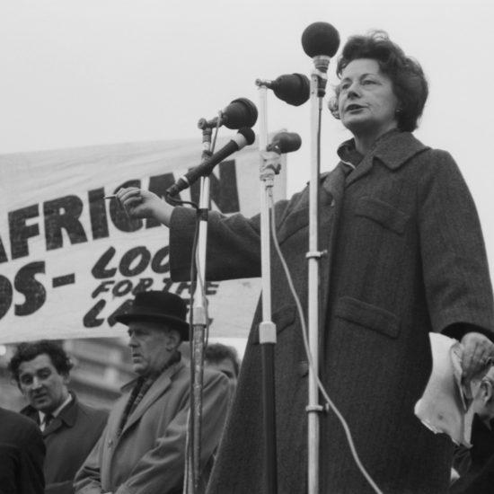 Barbara Castle MP speaks at an anti-apartheid rally in Trafalgar Square, central London, circa 1962