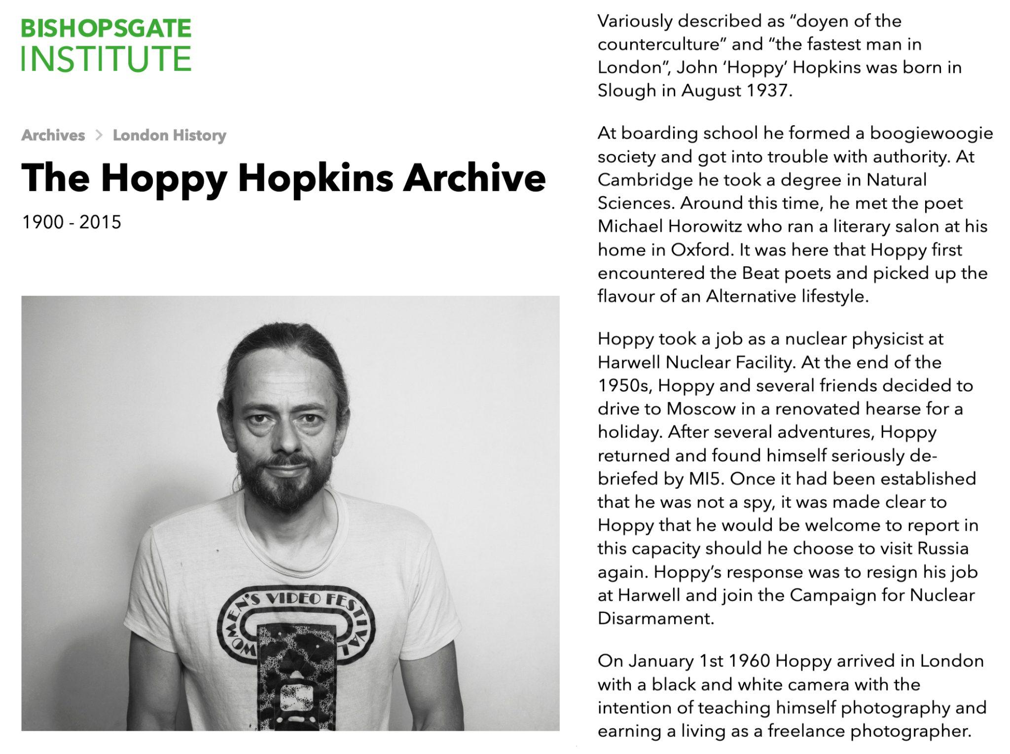 Bishopsgate Institute Hoppy Archive January 2021