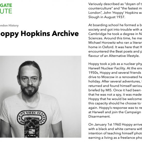 Screenshot from Bishopsgate Institute detailing online availability for the John 'Hoppy' Hopkins archive, featuring text by Adam Blake and a self-portrait by Hoppy