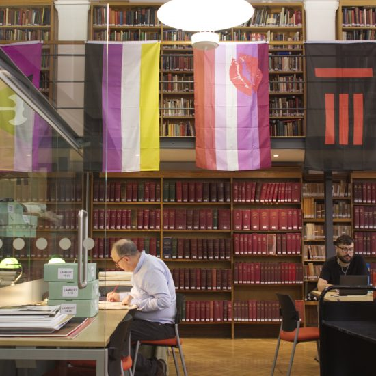 Banners hang in the Bishopsgate Library, London