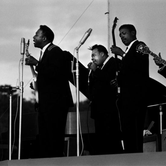 L-R: Muddy Waters, James Cotton, Louis Myers and Peewee Madison on stage at the Newport Jazz Festival, Rhode Island, July 1965