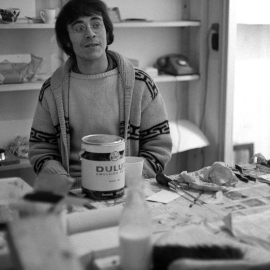 British artist John Dunbar photographed surrounded by painting and decorating materials during internal construction of Indica Books and Gallery in Mason's Yard, London, late 1965