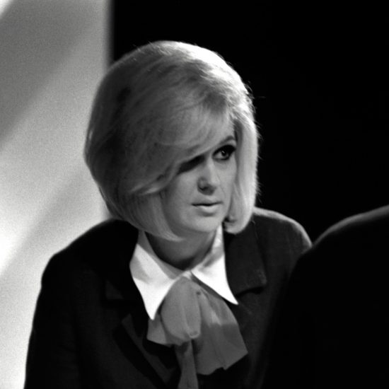 Dusty Springfield in close up on stage during a rehearsal for ABC's TV show 'Thank Your Lucky Stars', Teddington Studios, London, July 11 1964