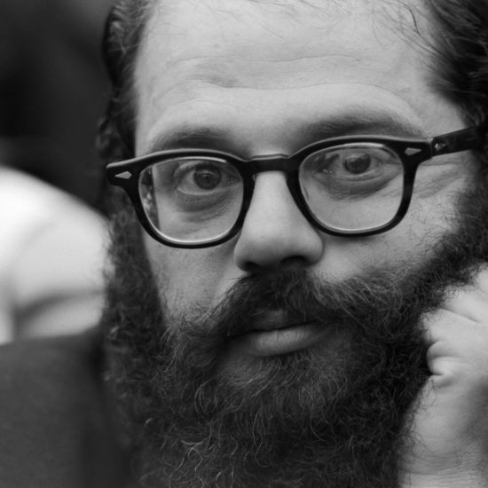 A close-up of Allen Ginsberg during a press conference at the Albert Memorial for The International Poetry Incarnation, photographed the day before the event at the Royal Albert Hall, on June 10 1965