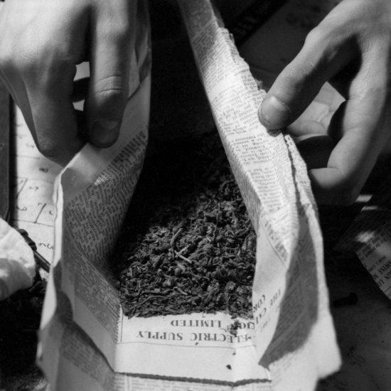 A close-up of someone handling marijuana wrapped in newspaper, London circa 1962