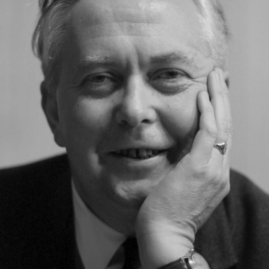Politician and Labour Party leader of the opposition Harold Wilson rests his chin on his hand and smiles as he is photographed in close-up, at the beginning of the 1964 General Election campaign in The United Kingdom