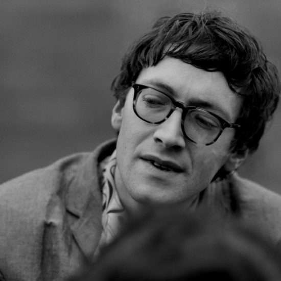 A close-up of British poet Michael Horovitz during a press conference at the Albert Memorial for The International Poetry Incarnation, photographed the day before the event at the Royal Albert Hall, London, on June 10 1965