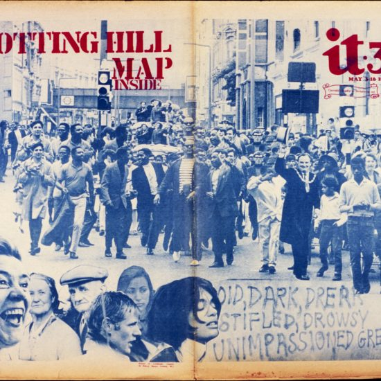 International Times cover composite photograph of a march in Notting Hill and various head shots, legend 'Notting Hill map inside' and a small printed banner 'Cannabis legalis in Britanniae est'