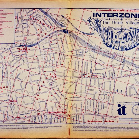 International Times double-page map of Notting Hill with the legend 'Notting Hill Interzone 'A' The Three Villages God Gave The Land To The People'