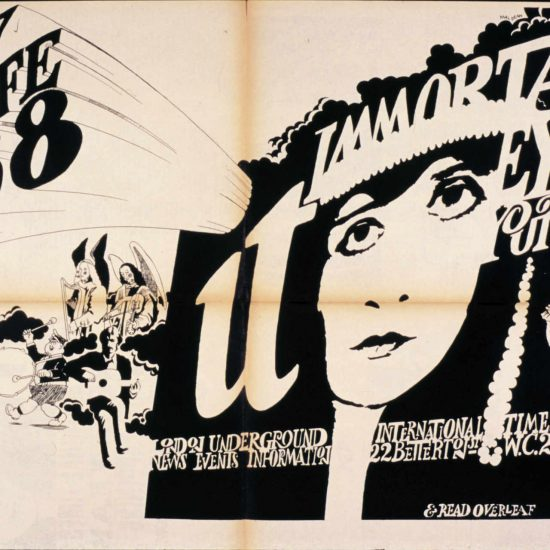 Theda Bara graphic on fold-out poster with text that reads 'Happy New Life 1968. it Immortal Eyes Yourself. London Underground News Events Information. International Times 22 Betterton Street WC2 - & Read Overleaf'