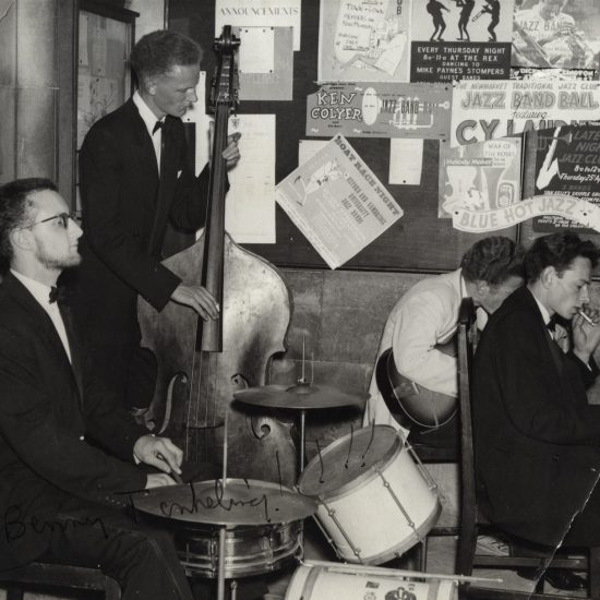 John Hoppy Hopkins plays piano in a jazz band during his university days, circa 1950s