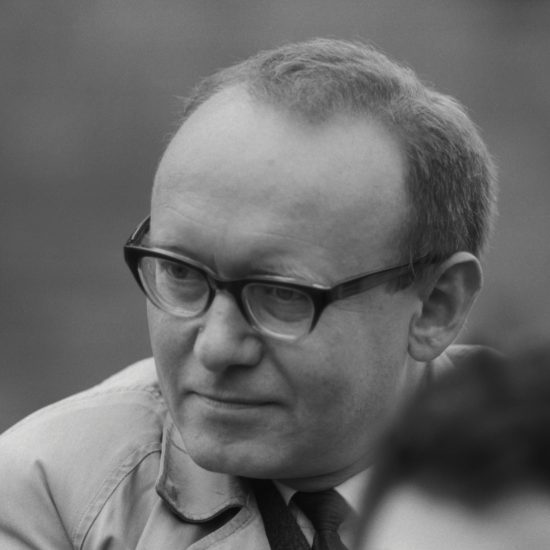 A close-up of Austrian writer, experimental poet, and translator Ernst Jandl during a press conference at the Albert Memorial for The International Poetry Incarnation, photographed the day before the event at the Royal Albert Hall, London, on June 10 1965
