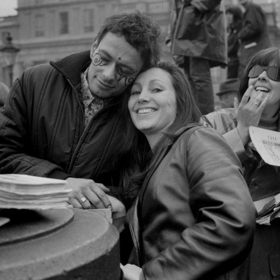During the last day of the Aldermaston-London CND rally in Trafalgar Square, Easter Monday, 1966. L-R: John 'Hoppy' Hopkins, Julie Felix, Michelle Poole