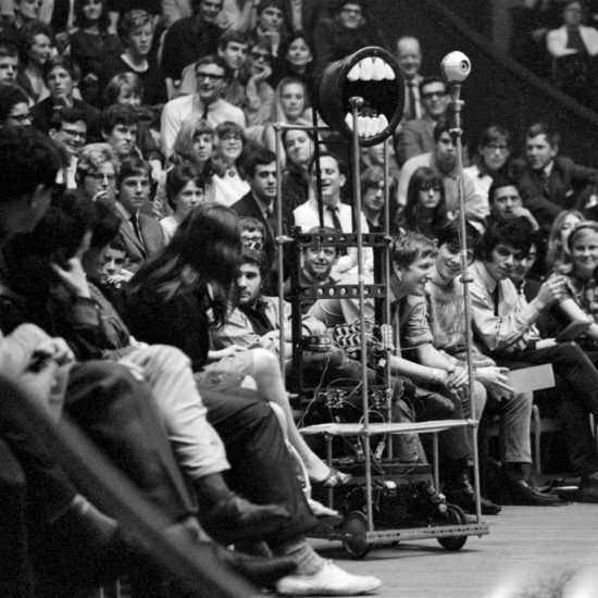 Automata artwork 'Silent John' by British artist and prankster Bruce Lacey makes farting noises in the audience during the International Poetry Incarnation at the Royal Albert Hall on June 11 1965
