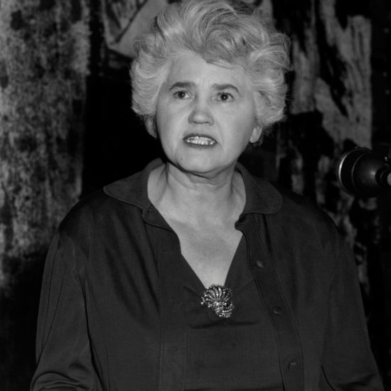 Scottish socialist politician Jennie Lee gestures with her right hand as she speaks at a meeting in Conway Hall, probably in 1963