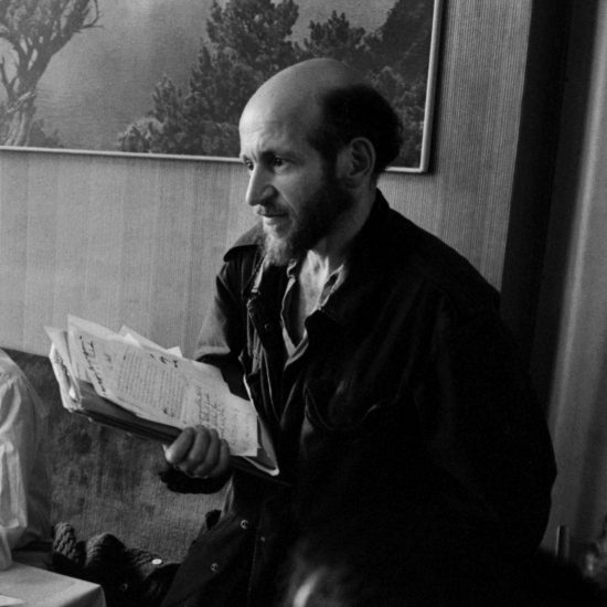 Artist and political activist Gustav Metzger holds a sheaf of papers in London, circa 1966