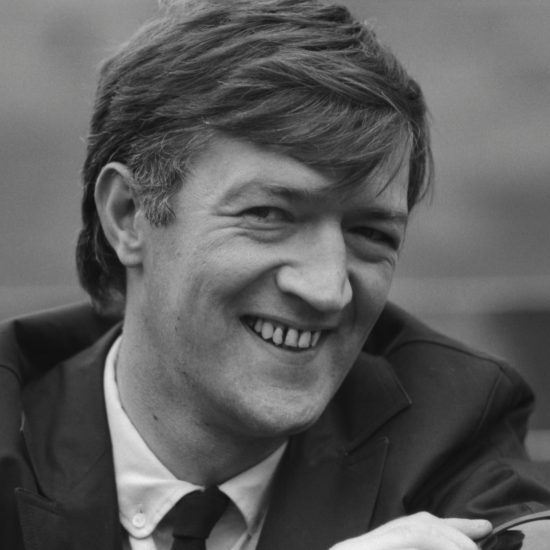 A close-up of British novelist, playwright and poet Adrian Mitchell during a press conference at the Albert Memorial for The International Poetry Incarnation, photographed the day before the event at the Royal Albert Hall, London,on June 10 1965
