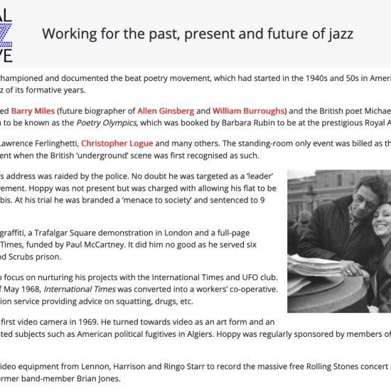 Screenshot of National Jazz Archive webpage featuring John 'Hoppy' Hopkins, 2021