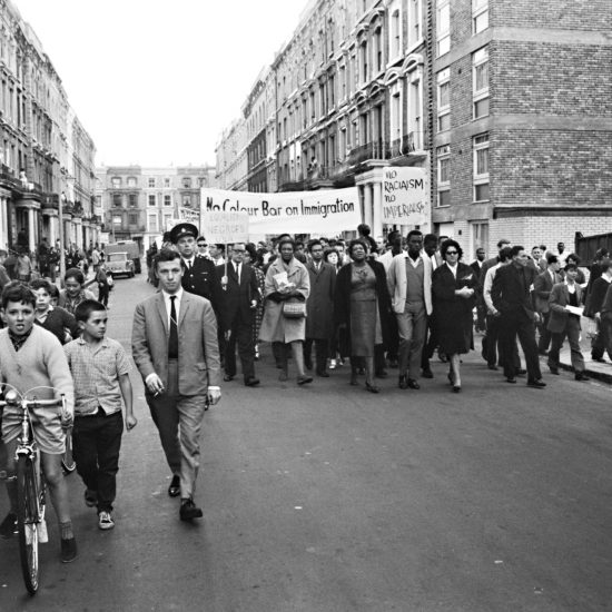Claudia Jones leads a civil rights march through Notting Hill