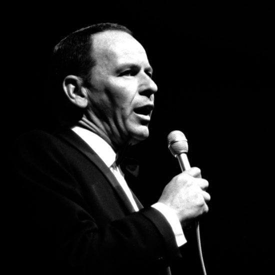 Frank Sinatra sings on stage at the Newport Jazz Festival, Rhode Island, July 1965