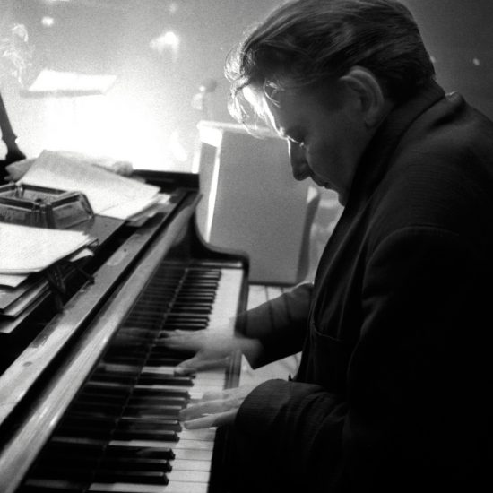 During a Jazz and poetry gig at the Marquee Club, British jazz pianist and composer Stan Tracey plays piano in close-up, circa 1963