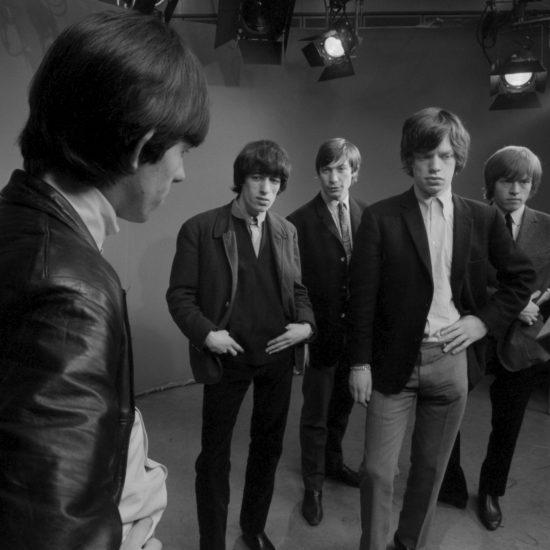 The Rolling Stones in the photographic studio. L-R: Keith Richards, Bill Wyman, Charlie Watts, Mick Jagger, Brian Jones