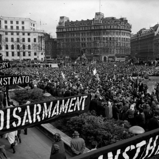 The Aldermaston to London CND march ends with an Easter Monday rally in Trafalgar Square, central London, 1964